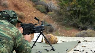 Hellenic Army National Guard FN Minimi in shooting range.