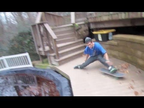 SKATEBOARDER DOES SPLIT DOWN DOUBLE SET
