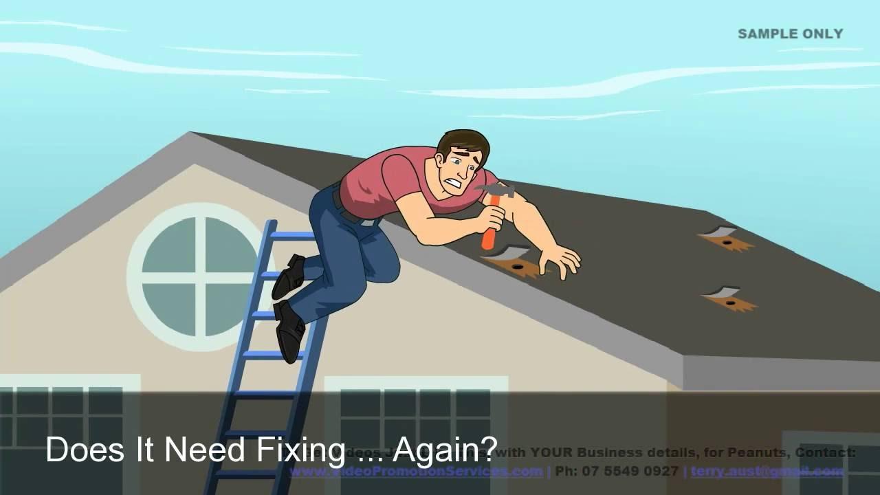Cartoon Roofing Installation : Roofing videos detail of asphalt roll