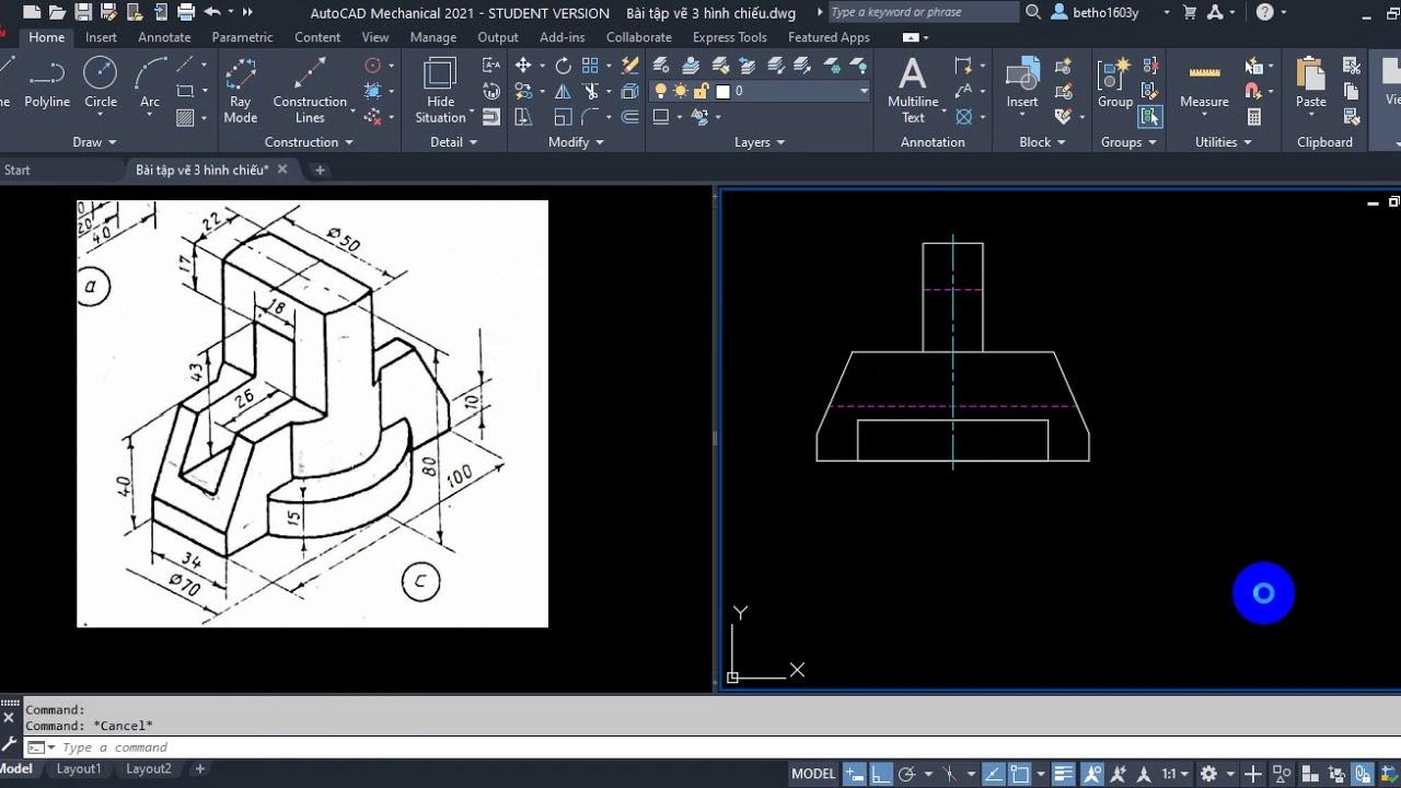 Vẽ kỹ thuật cơ khí | Vẽ hình chiếu thứ 3 trong AutoCAD | VADUNI | Bài 3