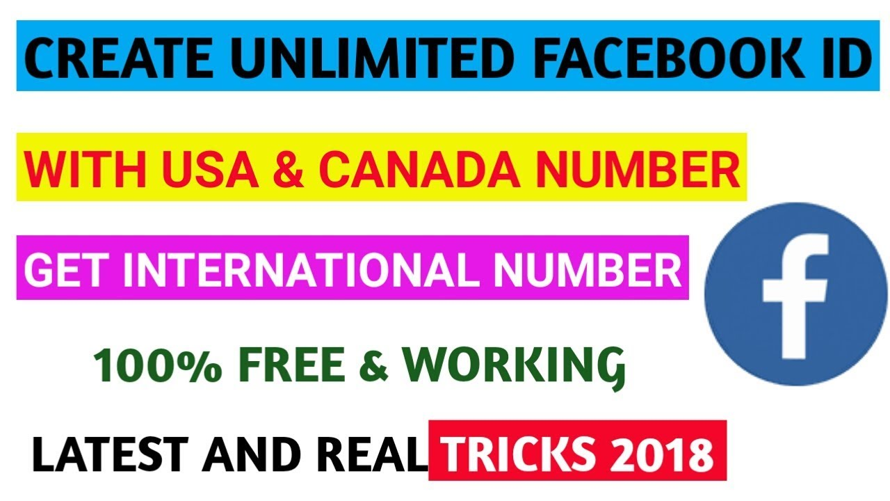 Create Facebook Id With Usa Number Free International Number Fb Id Tricks 2018 Youtube