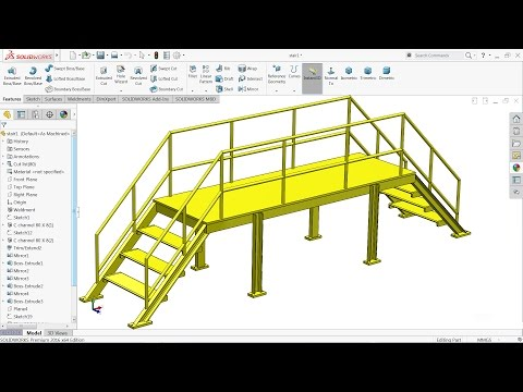 Solidworks tutorial | sketch Steel Stair in Solidworks