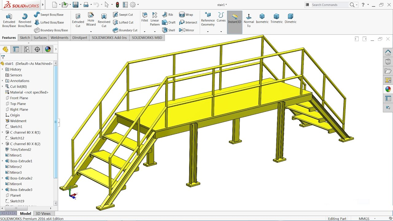Solidworks Tutorial Sketch Steel Stair In Solidworks
