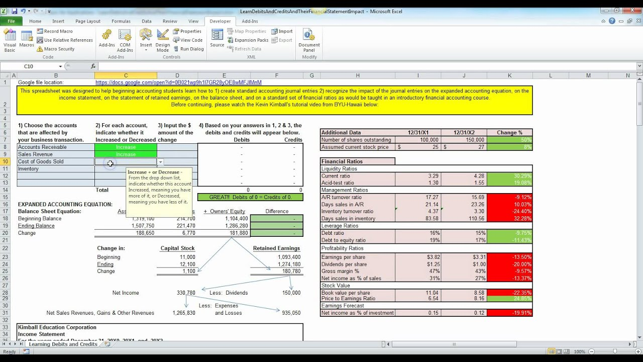 simple excel bookkeeping accounting debits and credits trainer youtube