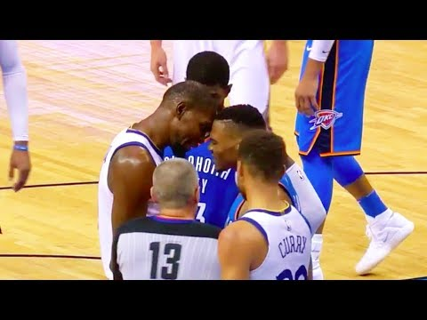 Kevin Durant and Russell Westbrook Trash Talking Face to Face! Screaming Fight! Warriors vs Thunder