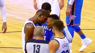 Kevin Durant Trash Talking Russell Westbrook Face to Face Screaming Fight Warriors vs Thunder