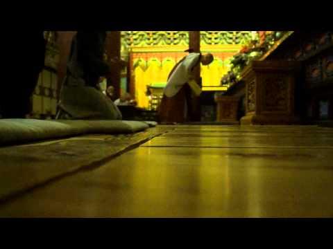 Monks perform morning Buddhist chants at Haeinsa Temple