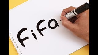 How to turn word FIFA into a Cartoon FIFA WORLD CUP 2018 ! Text To Picture Art for kids