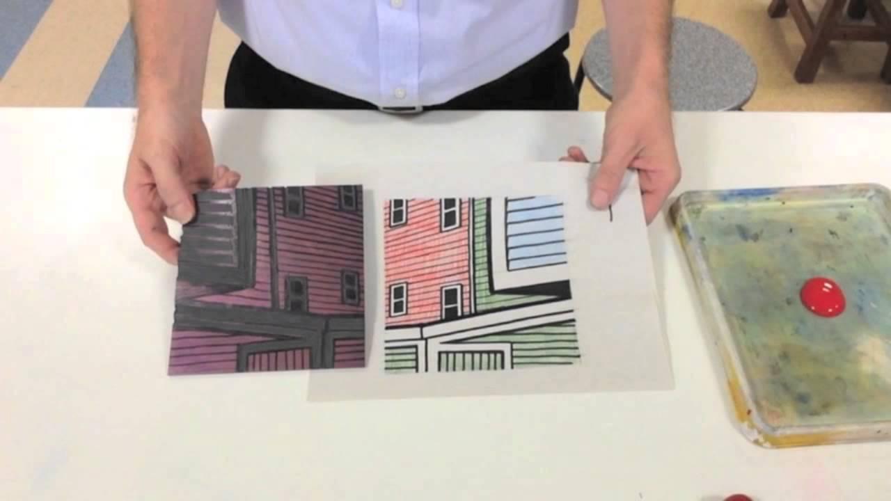 Reductive Printmaking Linocut 4 Colour White