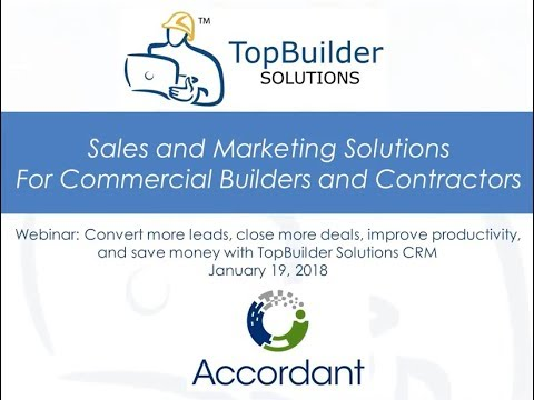 WEBINAR: CRM for construction helps you close more deals while streamlining your sales and bidding processes. January 18, 2018 (57:58 minutes)