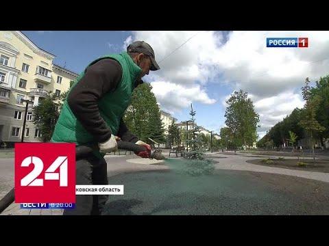 Жидкий газон: в Электростали покрасили землю в зеленый цвет - Россия 24