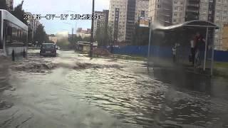 Дождь в Питере. Потоп на Кржижановского. 17.07.2015