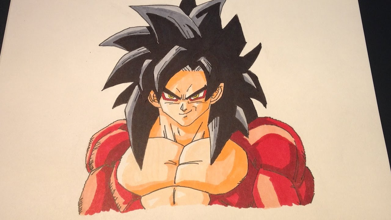 Speed Drawing Goku Super Saiyan 4 Dessin De Goku En Super Saiyen 4