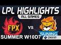 FPX vs SN Highlights ALL GAMES LPL Summer Season 2020 W10D7 FunPlus Phoenix vs Suning by Onivia