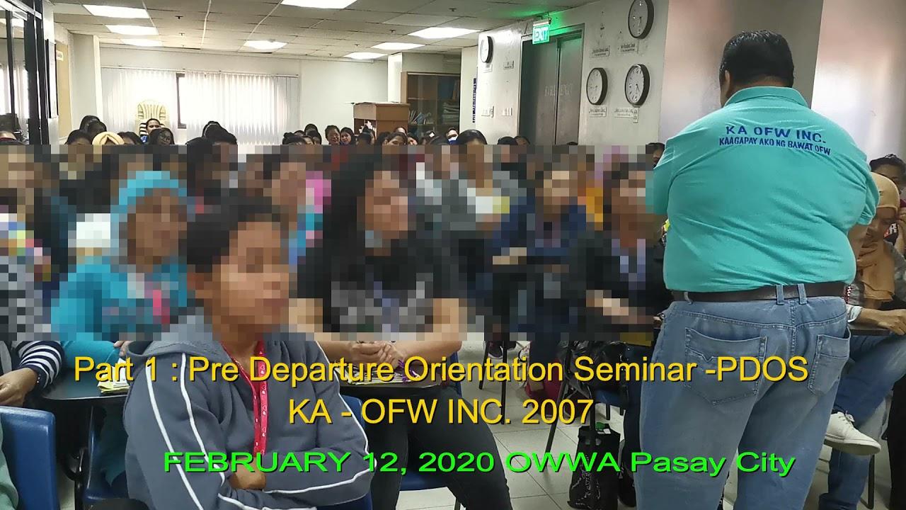 Download Pre Departure Orientation Seminar sa OWWA sa Pasay nung wala pa ang Pandemic