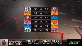 [2017 Rift Rivals EU-NA] D1 G1 - G2 vs TSM - League of Legends - G2 Esports vs Team SoloMid