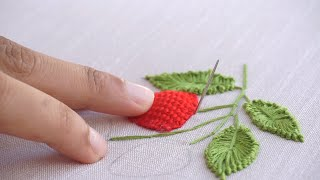 How to Embroider a Strawberry: Stitching Tutorial for Beginners by HandiWorks