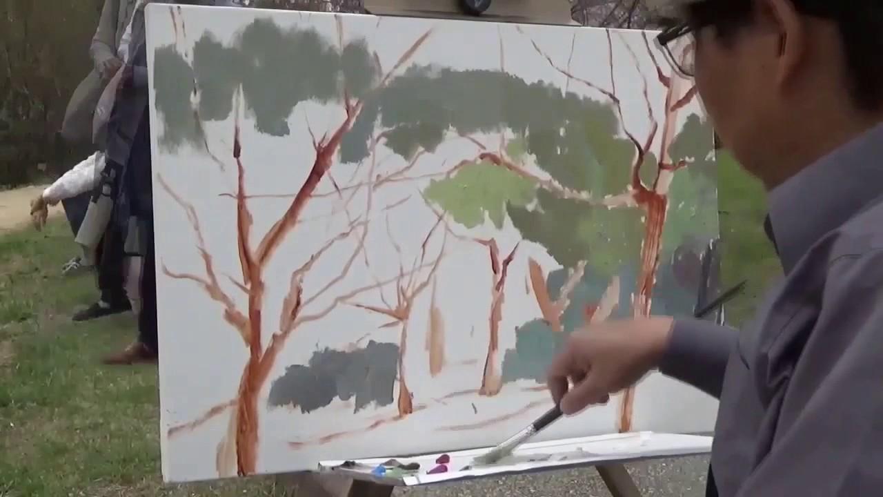 鄭建寧日本櫻花油畫寫生, Oil painting sketch of cherry blossom in Japan/ Joshua Cheng