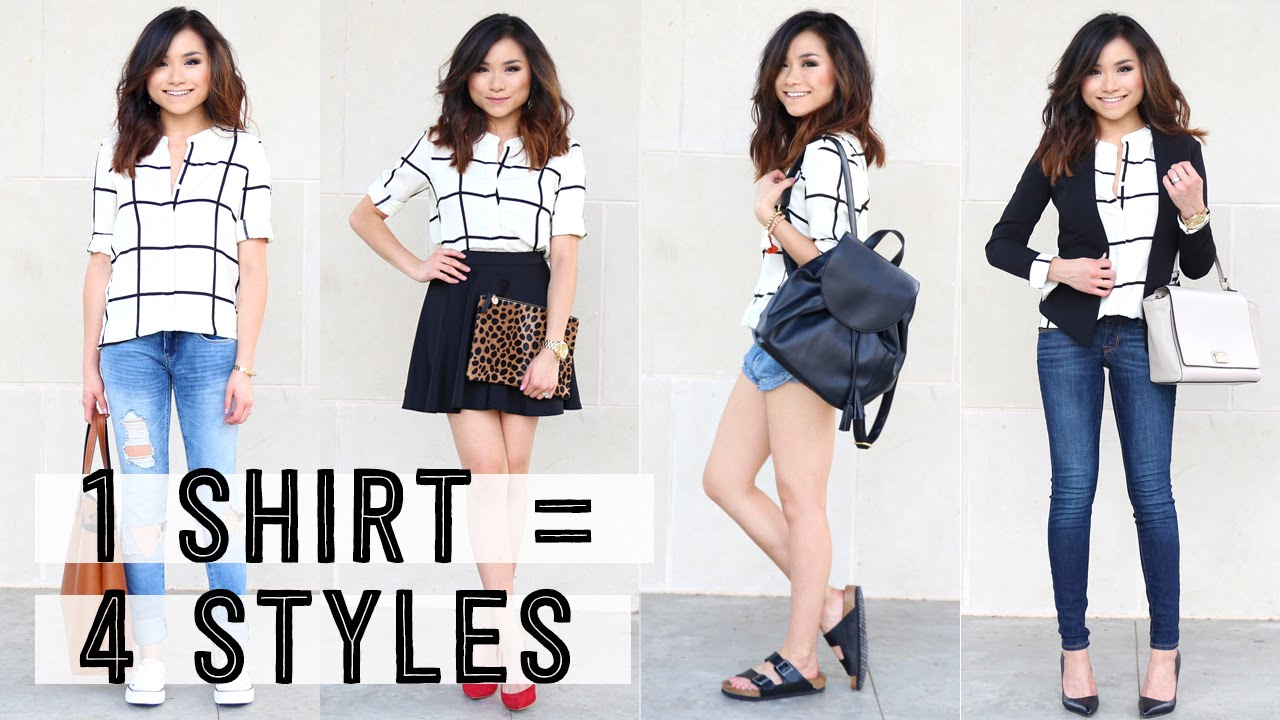 96c89db1f5 One Shirt Styled Four Different Ways | How to Wear | Miss Louie - YouTube