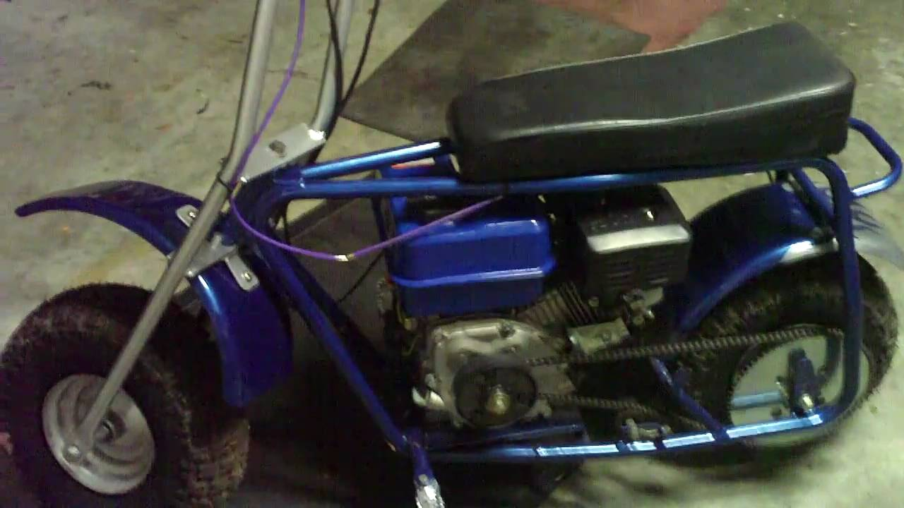 Doodle Bug minibike with 6.5hp HF clone and a new paint job - YouTube