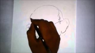 How to draw Gandhiji portrait