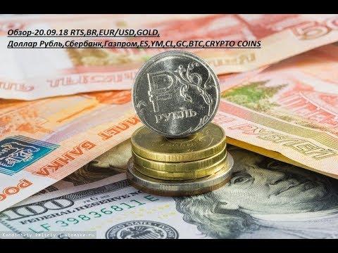 Обзор-20.09.18 RTS,BR,EUR/USD,GOLD, Доллар Рубль,Сбербанк,Газпром,ES,YM,CL,GC,BTC,CRYPTO COINS
