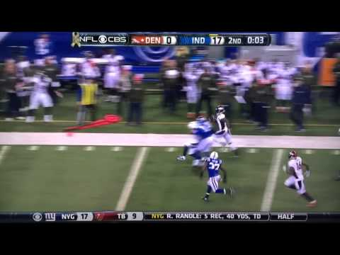 Denver Broncos Omar Bolden returns punt for 83 yards TD vs Indianapolis Colts on last play of half