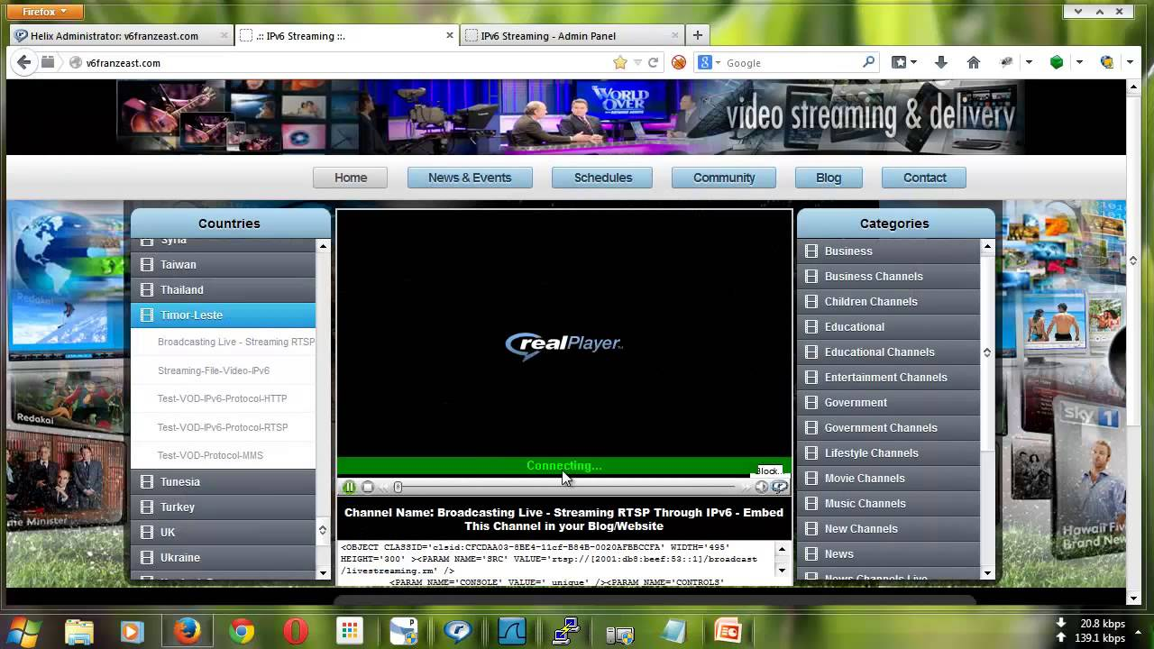 RTSP Streaming Server - Demo Streaming RTSP Protocol Over IPv6 Network