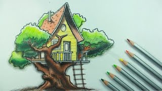 Drawing a Tree House | Time Lapse (mickirway)