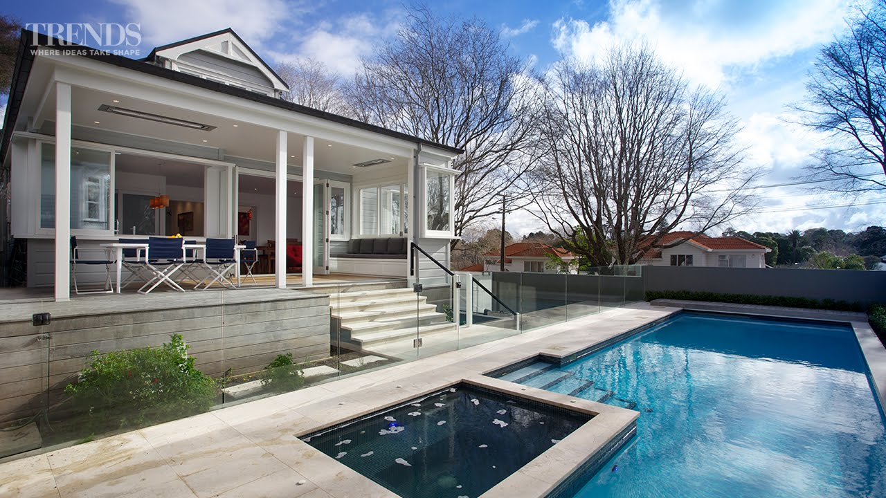 Traditional villa renovation with new kitchen outdoor for Swimming pool design new zealand