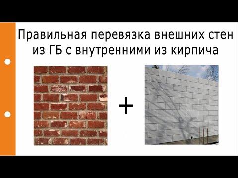 Как правильно сделать перевязку внешних стен из ГБ с внутренними из кирпича?