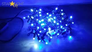 Обзор на внешнюю гирлянду Бахрома синего цвета свечения. Внешняя гирлянда для украшения