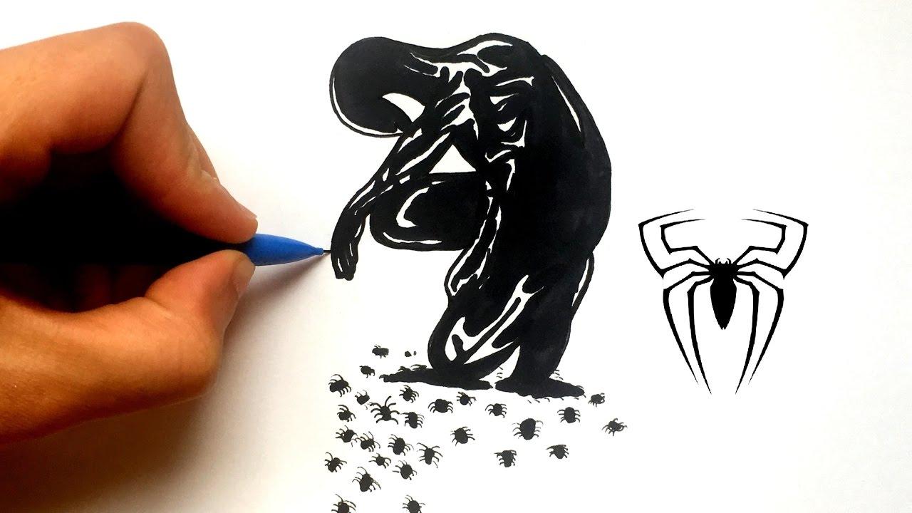 Dessin spiderman noir et blanc youtube - Spiderman en dessin ...