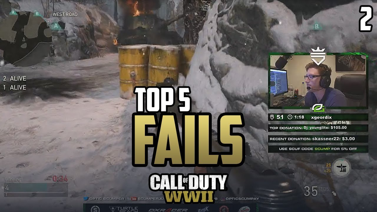 COD WWII: TOP 5 PRO FAILS #2 - Call of Duty World War 2 ...