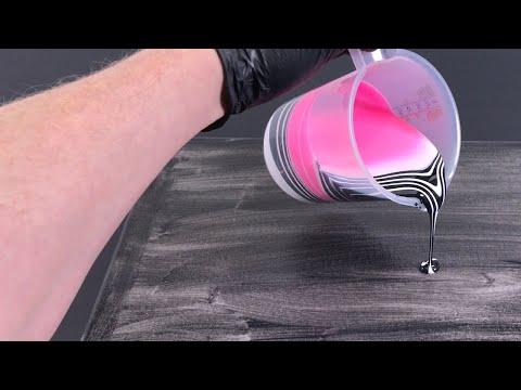 Acrylic pouring with three colors - black, rose and white - simple painting technique