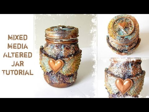 Mixed Media Altered Jar | Prima Marketing Finnabair Products | Candle holders