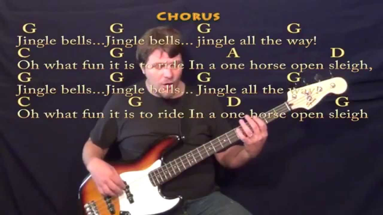 Jingle Bells Christmas Bass Guitar Cover Lesson W Lyricschords