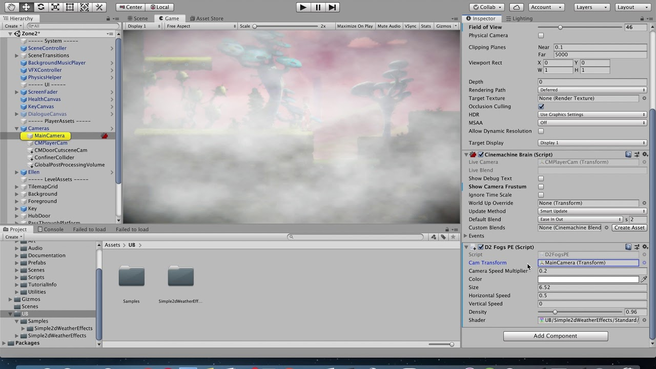 Simple 2d Weather Effects - Unity - Dynamic Movement