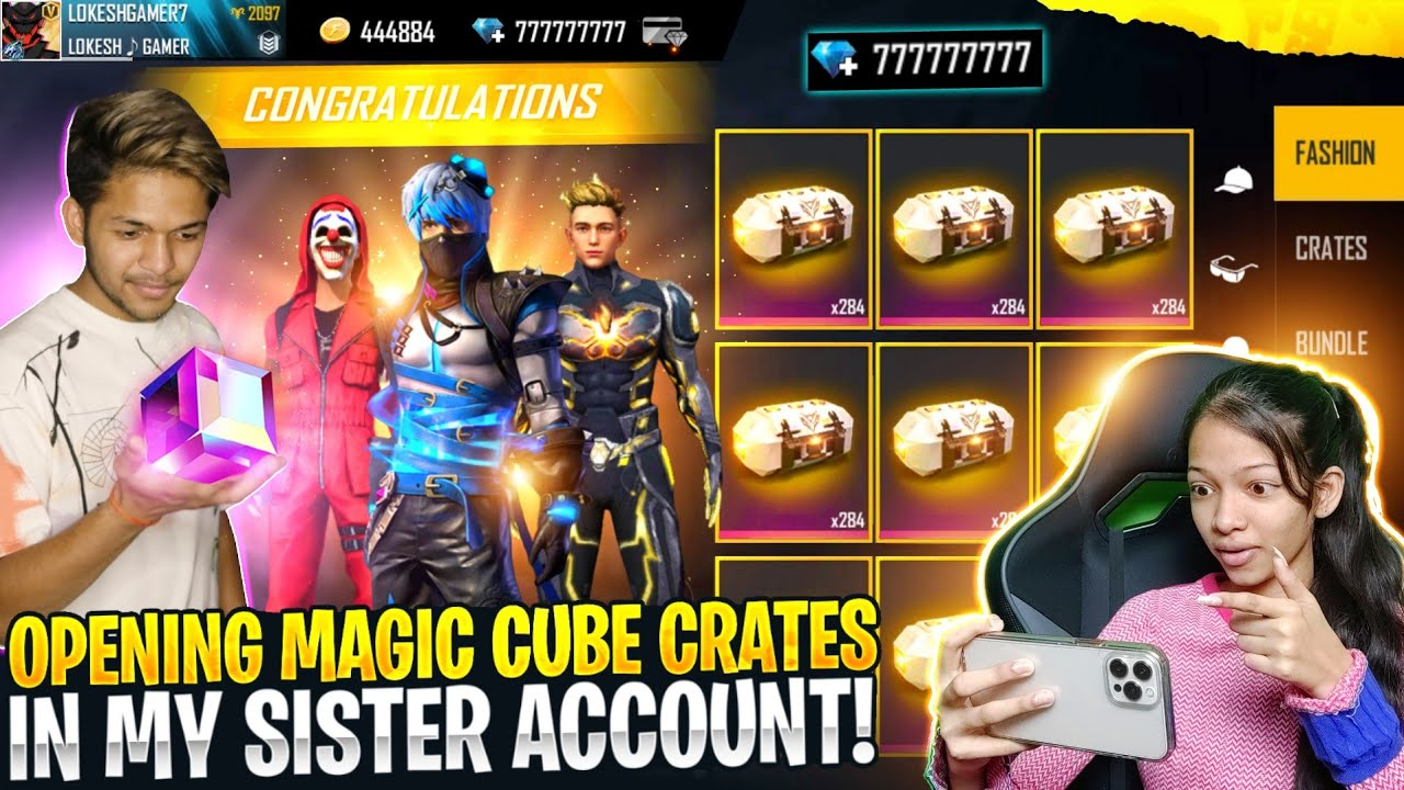 Opening 777 Magic Cube Crates 😱😱😱 In My Sister Account Garena Free Fire