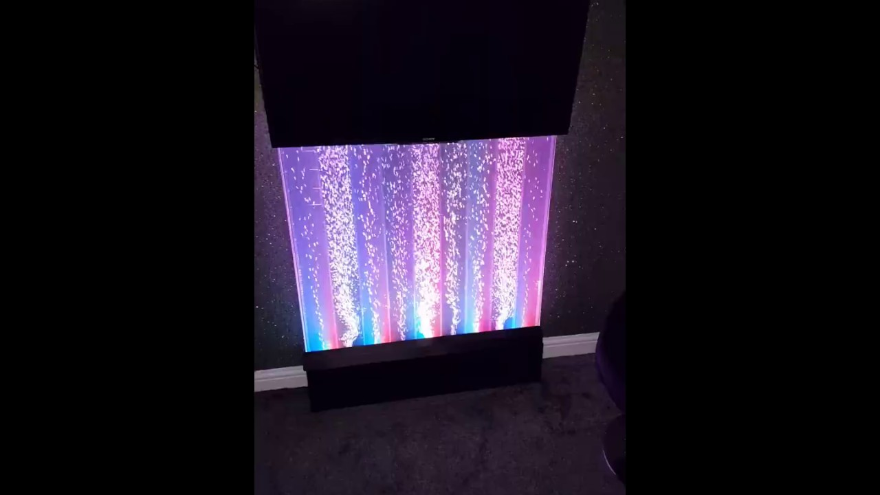 Bubble Water Feature Wall Colour Changing Lights Indoor Fountain With TV And Soundbar Setup
