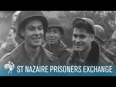 American & German Prisoners Exchange At St Nazaire (1944) | British Pathé