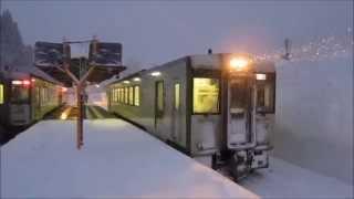 [駅舎訪問] JR飯山線 森宮野原駅 ~静かに雪の降る夕暮れ~