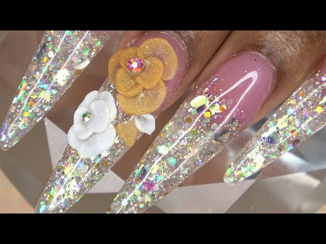 Acrylic Nails Tutorial - How to Encapsulated Nails Ice Glitter Ombre Nails with 3D Acrylic Flowers