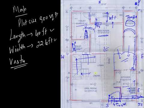 One Story एक मंजिल Building Map of 900 Square Feet as par वास्तु