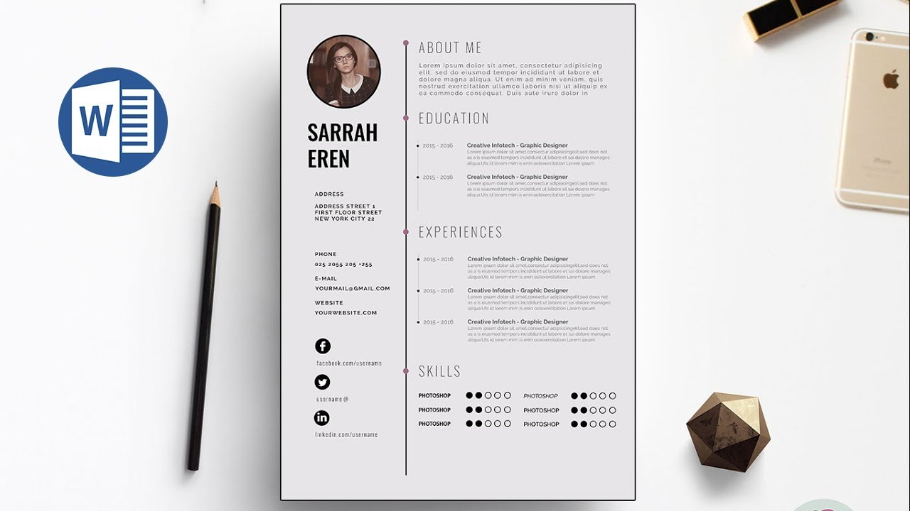 Resume Layout Word Clean Cv Template Design In Microsoft Word Docx File