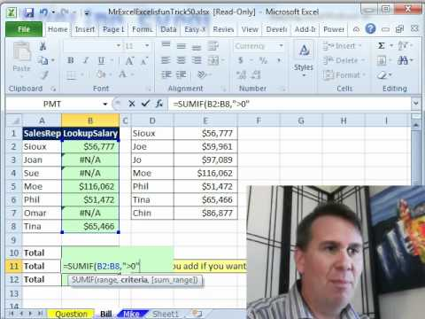 Mr Excel & excelisfun Trick 50: SUM Non - #N/A errors SUMIF or AGGREGATE?