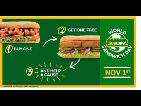 Subway Buy One Get One Free On All Subs - Best Subway Deal L World Sandwich Day 2019 Subway Offer