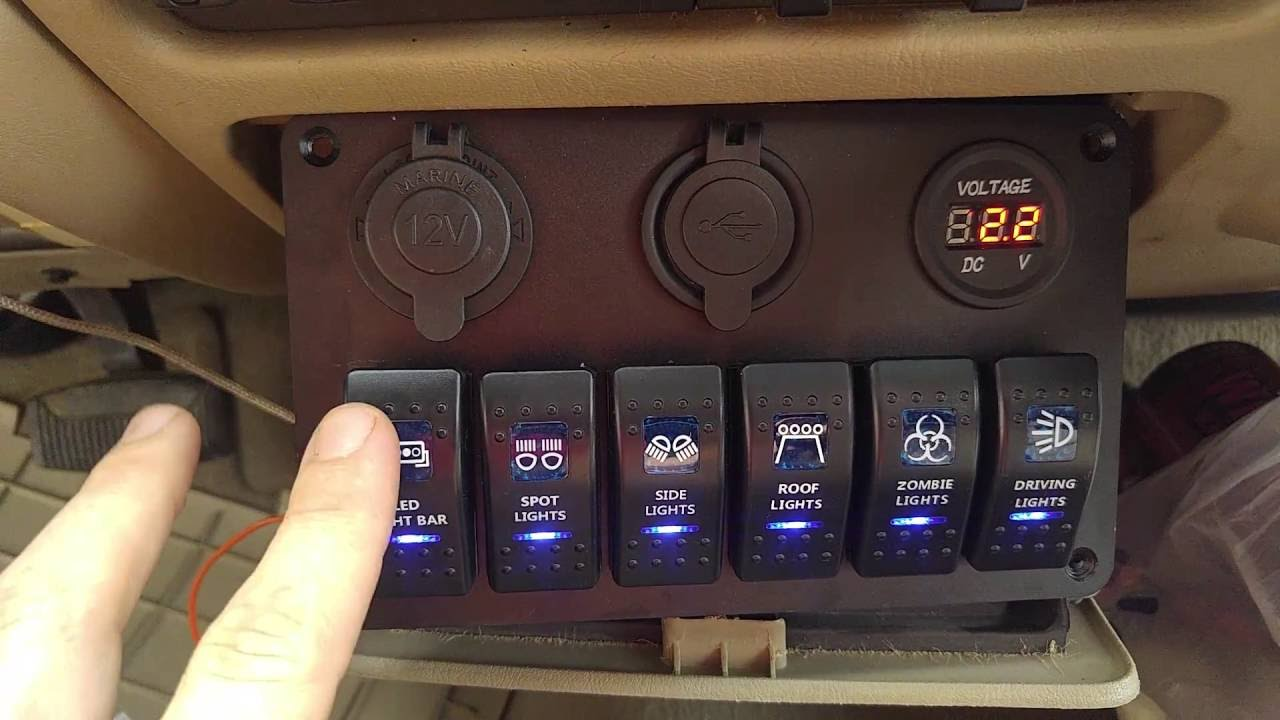 Automotive Led Lighting Diagram Garage Wiring ~review~ Teqstone 6-switch Light Bar Panel With Volt Meter Usb & Cig Lighter 4 Truck, Jeep ...