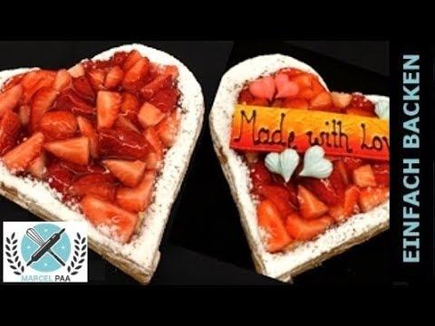 Blatterteig Herztorte Zum Valentinstag Erdbeertorte I Einfach