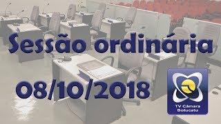 Sessão ordinária 08/10/2018